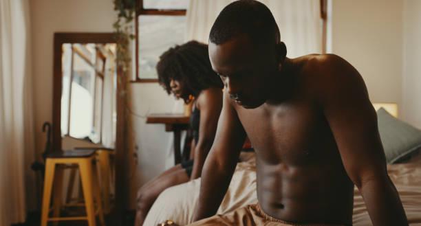 unhappy african couple